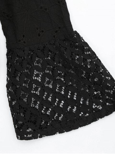 Blouse panneau en dentelle à épaule dénudée avec frange - Noir L Mobile