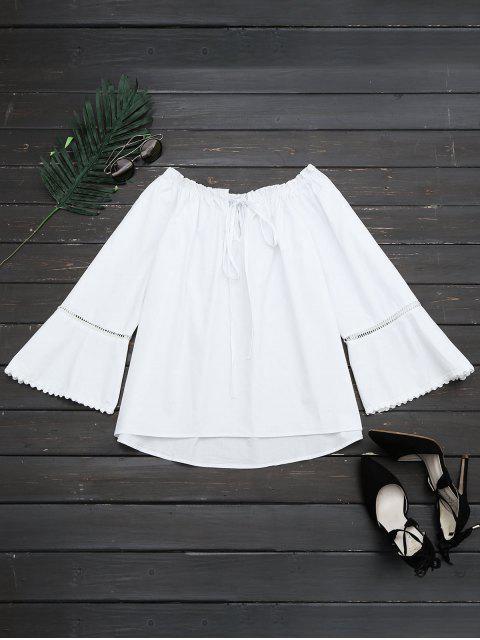 fancy Ruffle Hem Cut Out Blouse - WHITE XL Mobile