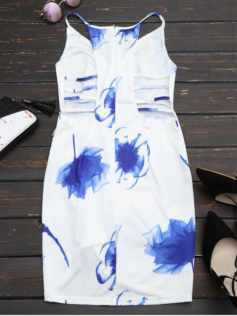 Cami Robe Imprimé Floral Découpage à la Taille - Blanc M Mobile