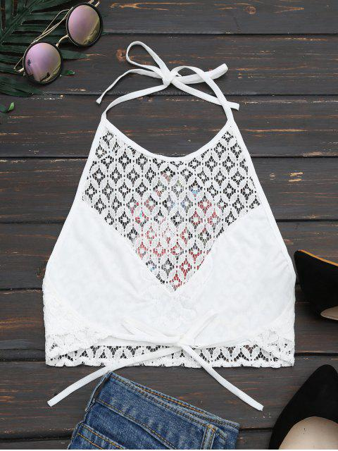 lady Halter Floral Patched Backless Lace Top - WHITE ONE SIZE Mobile