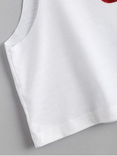 best Cropped Drop Armhole Letter Tank Top - WHITE 2XL Mobile