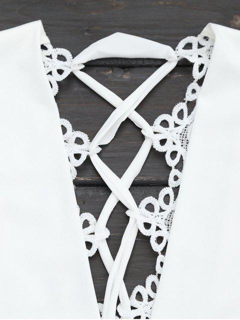 Top court col plongeant dos à lacet - Blanc XL Mobile