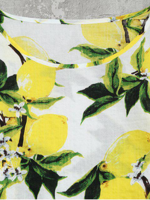 Chemisier col rond imprimé citron - Blanc 2XL Mobile