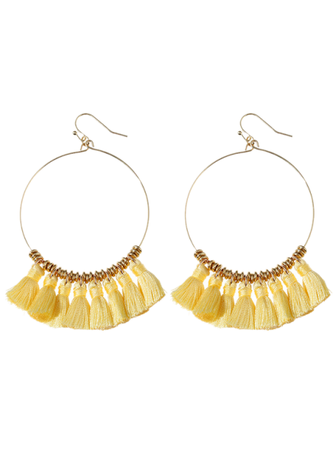 hot Tassels Cicle Hoop Drop Earrings - YELLOW  Mobile