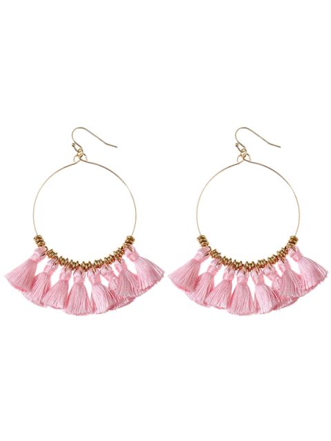 shop Tassels Cicle Hoop Drop Earrings - PINK  Mobile