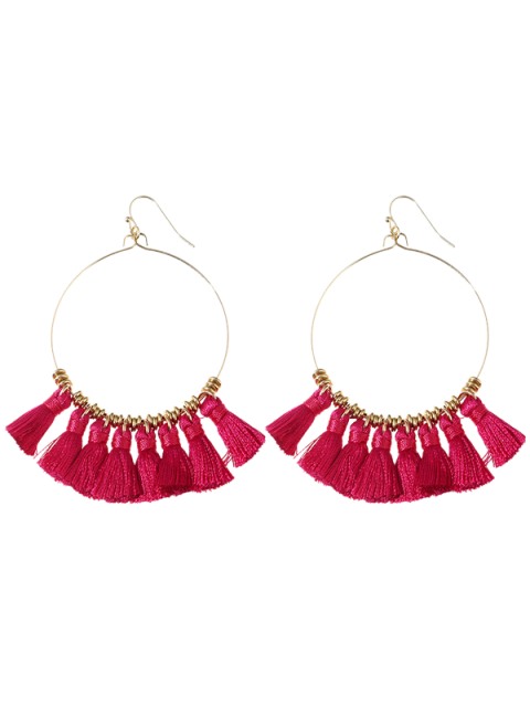latest Tassels Cicle Hoop Drop Earrings - ROSE RED  Mobile