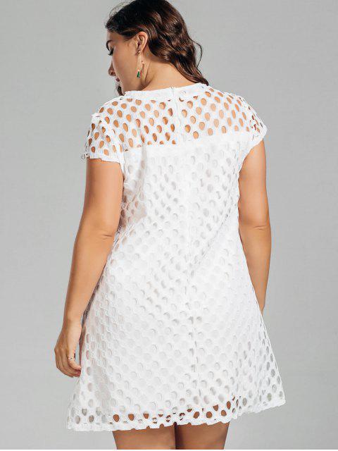 lady Lace Plus Size Cut Out Dress - WHITE 4XL Mobile