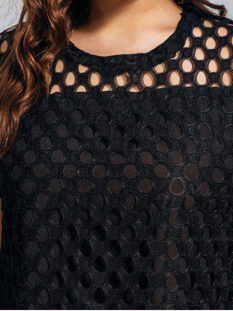 Robe découpée en dentelle taille grande - Noir 4XL Mobile