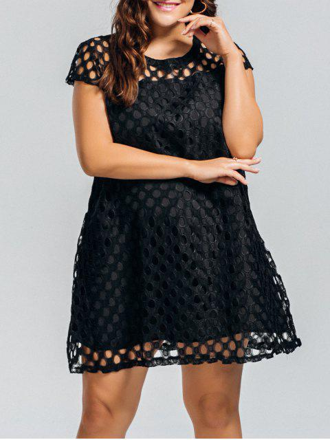 Lace Plus Size Cut Out Vestido - Negro 3XL Mobile