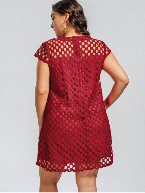 outfit Lace Plus Size Cut Out Dress - RED 4XL Mobile