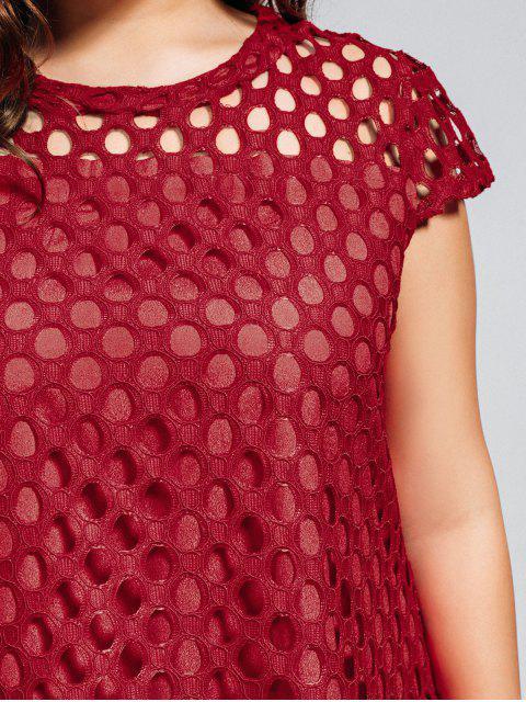 Robe découpée en dentelle taille grande - Rouge 2XL Mobile
