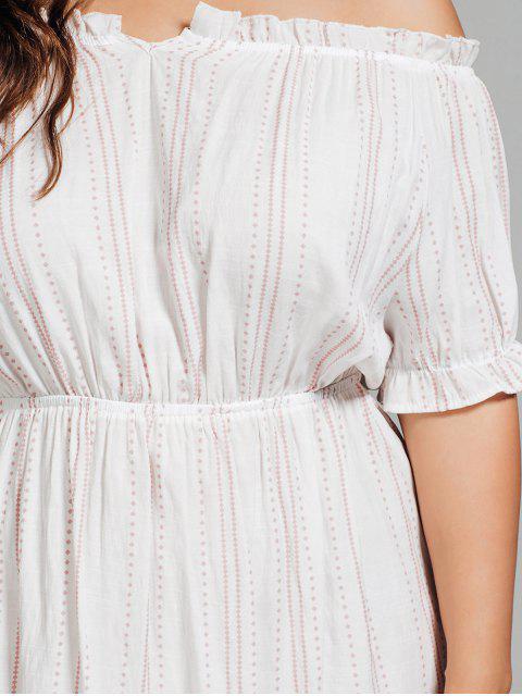 trendy Polka Dot Plus Size Off Shoulder Dress - WHITE XL Mobile