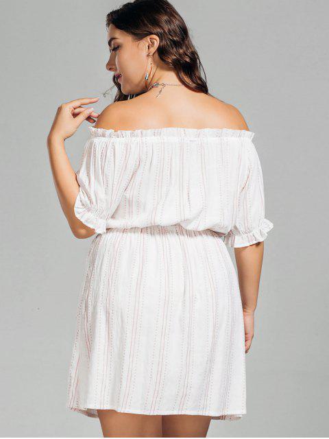 fashion Polka Dot Plus Size Off Shoulder Dress - WHITE 3XL Mobile