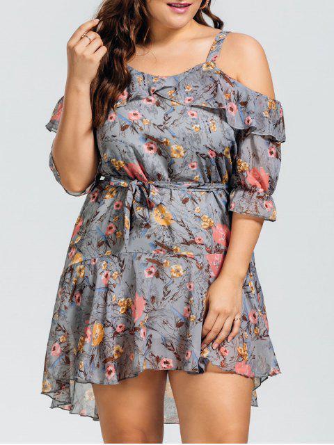 fancy Floral Plus Size Cold Shoulder Dress - FLORAL 2XL Mobile
