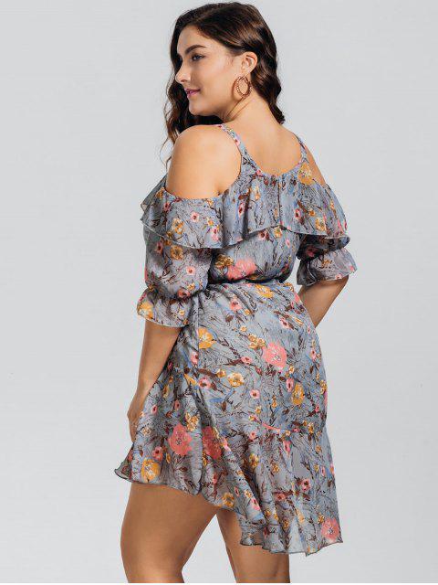 Robe imprimé de fleurs de grande taille  aux épaules dénudées - Floral 2XL Mobile