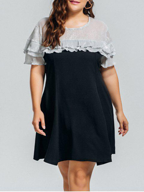 Plus Size Shiny Panel Rüschen Kleid - Schwarz 3XL Mobile