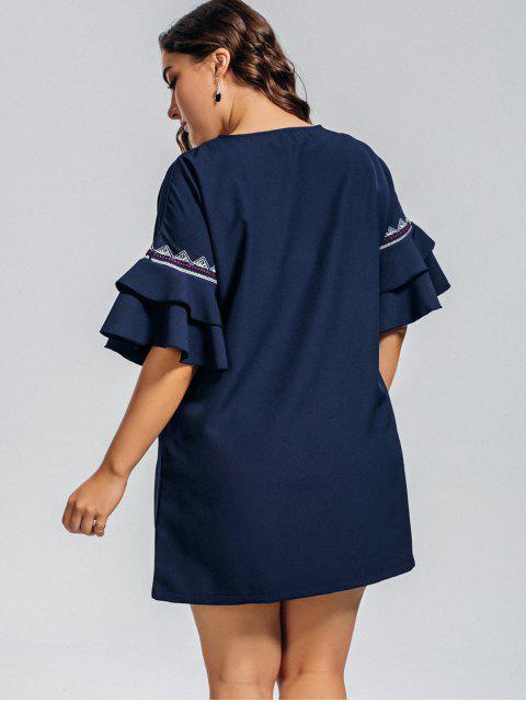 women's Plus Size Embroidered Ruffles Mini Dress - PURPLISH BLUE XL Mobile