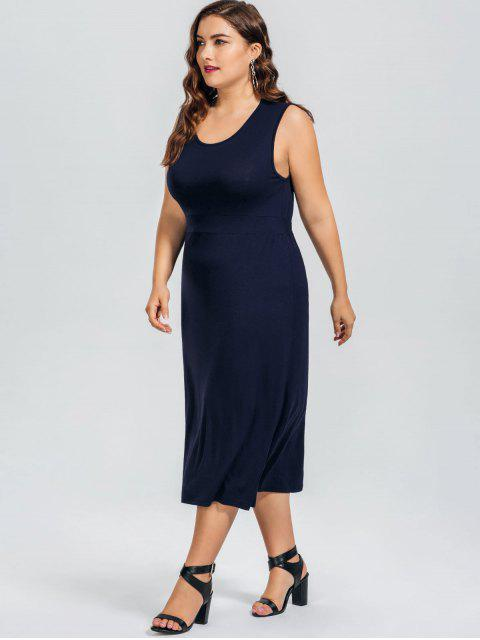 best Casual Plus Size Cut Out Dress - PURPLISH BLUE 4XL Mobile