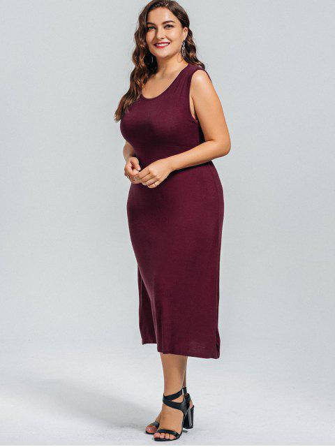 hot Casual Plus Size Cut Out Dress - WINE RED 4XL Mobile