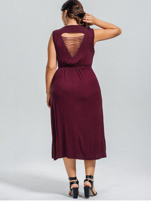 outfit Casual Plus Size Cut Out Dress - WINE RED 3XL Mobile