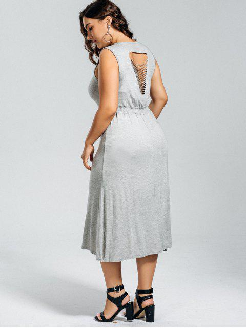outfits Casual Plus Size Cut Out Dress - GRAY 5XL Mobile