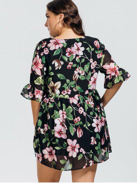 Robe en volant floral en mousseline de soie - Floral 3XL Mobile