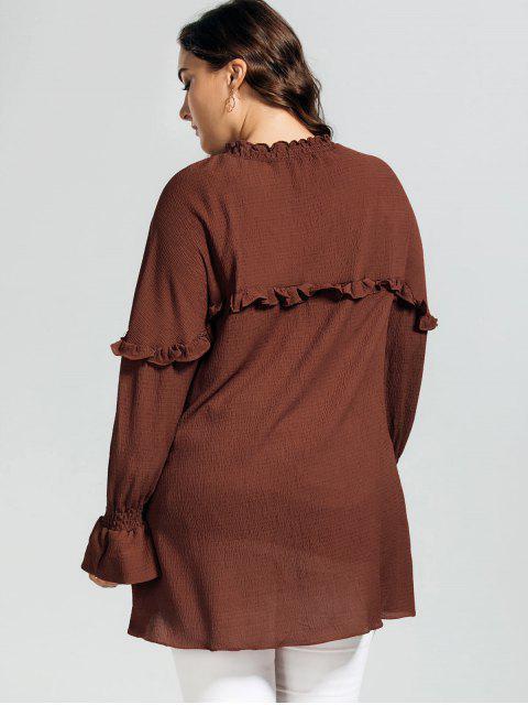 chic Longline Ruffles String Plus Size Blouse - BRICK-RED 2XL Mobile