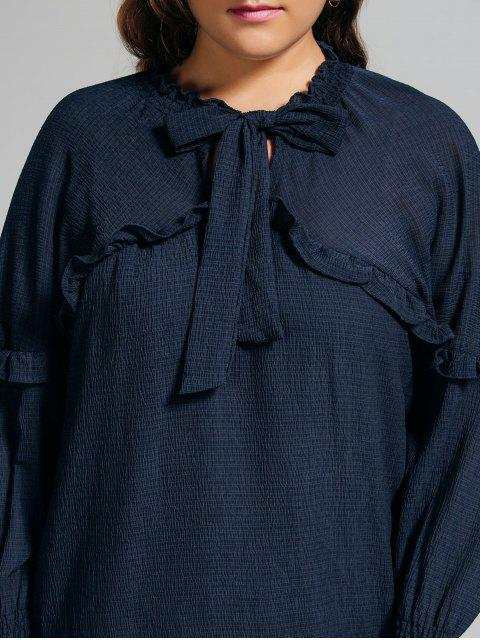 buy Longline Ruffles String Plus Size Blouse - PURPLISH BLUE XL Mobile