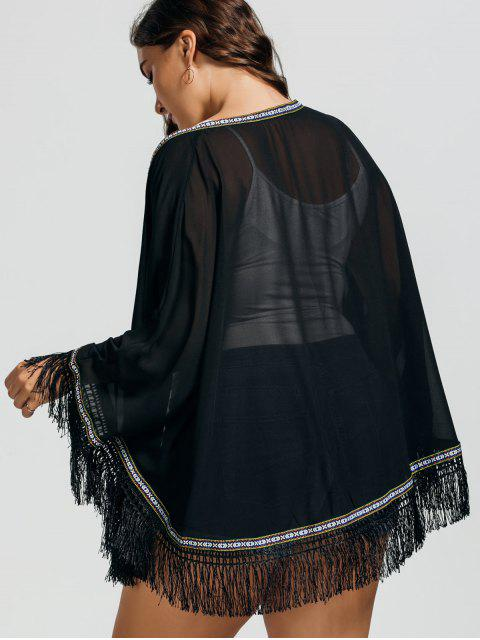 womens Plus Size Embroidered Fringed Cap Blouse - BLACK ONE SIZE Mobile