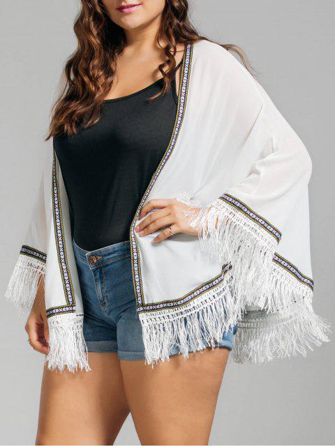 Plus Size gestickte gefranste Cap Bluse - Weiß Eine Größe Mobile