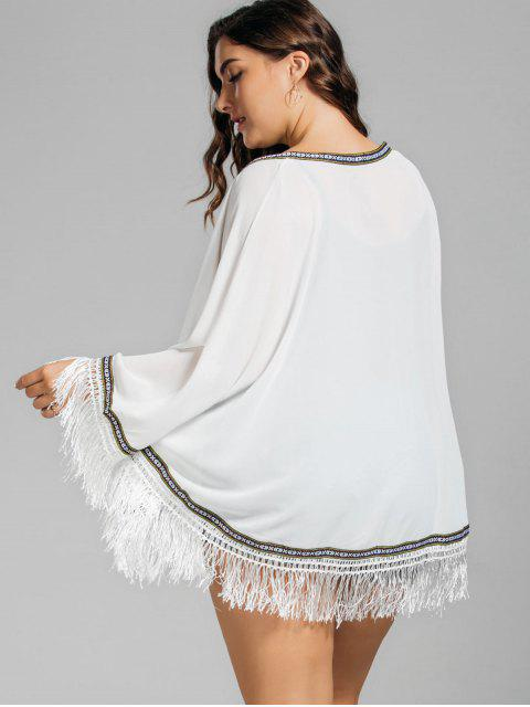 women Plus Size Embroidered Fringed Cap Blouse - WHITE ONE SIZE Mobile