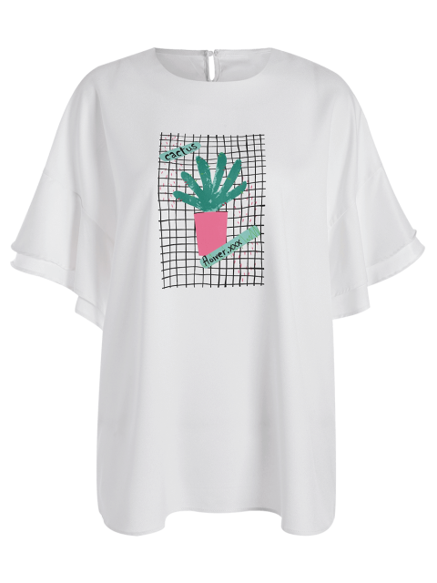 women's Ruffles Plus Size Cactus Graphic Top - WHITE 2XL Mobile