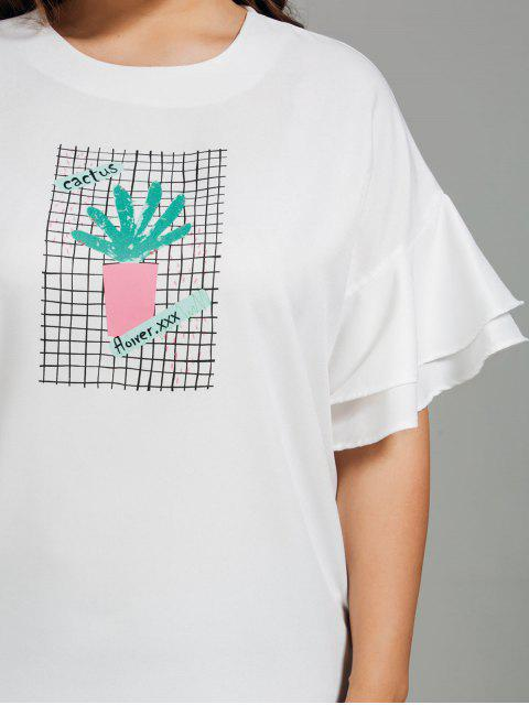 lady Ruffles Plus Size Cactus Graphic Top - WHITE 3XL Mobile