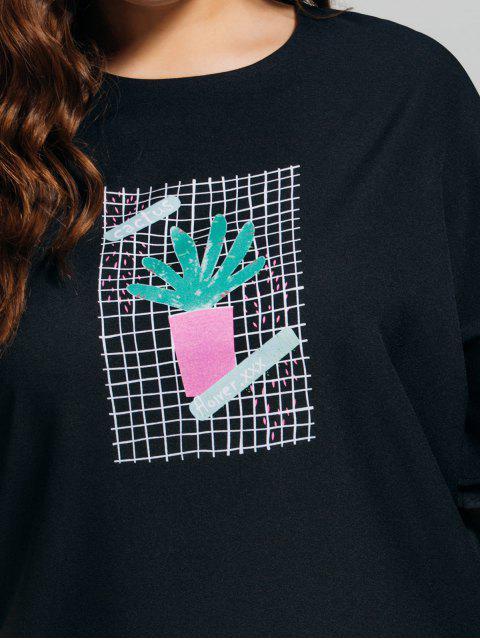online Ruffles Plus Size Cactus Graphic Top - BLACK 2XL Mobile