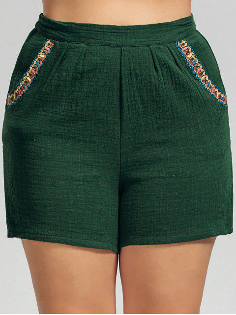 buy High Waisted Plus Size Embroidered Shorts - DEEP GREEN 4XL Mobile