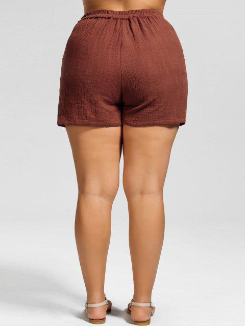women High Waisted Plus Size Embroidered Shorts - BRICK-RED 3XL Mobile