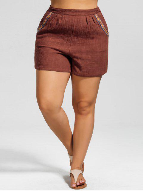Shorts à grande taille à taille haute avec décoration de broderie - Brique rouge 3XL Mobile