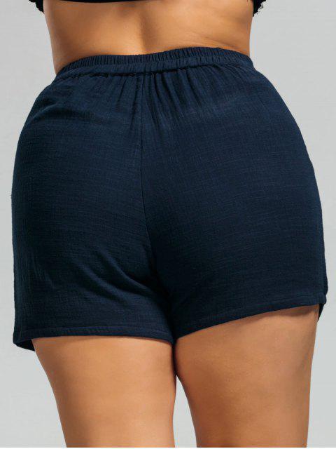 lady High Waisted Plus Size Embroidered Shorts - PURPLISH BLUE 3XL Mobile