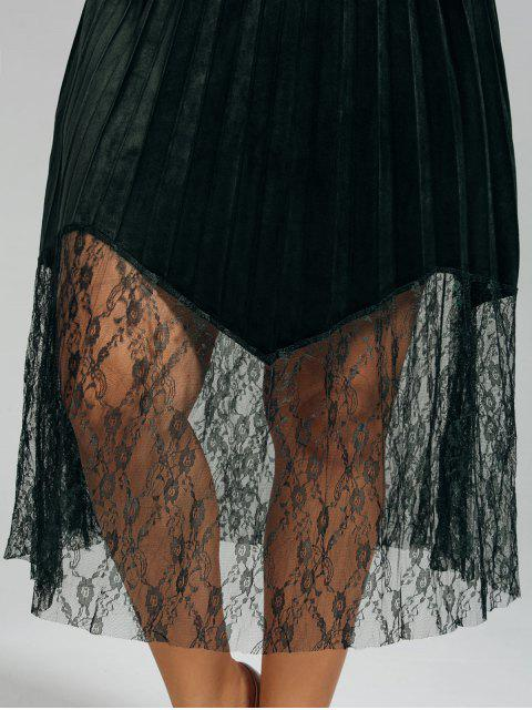 online Plus Size Lace Panel Pleated Skirt - BLACKISH GREEN 2XL Mobile