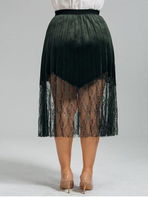 outfit Plus Size Lace Panel Pleated Skirt - BLACKISH GREEN 5XL Mobile