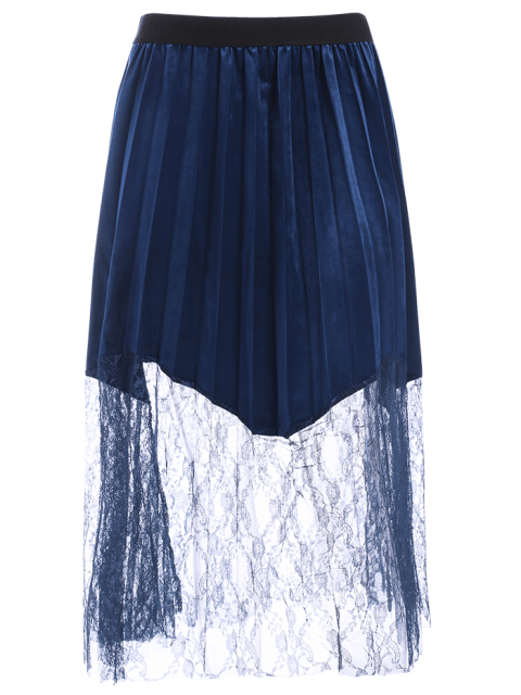 latest Plus Size Lace Panel Pleated Skirt - DEEP BLUE 2XL Mobile