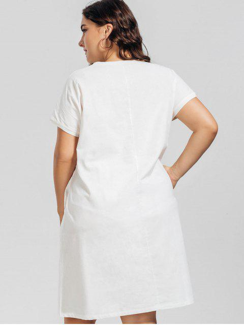 affordable Voile Panel Plus Size Embroidered Dress - WHITE XL Mobile