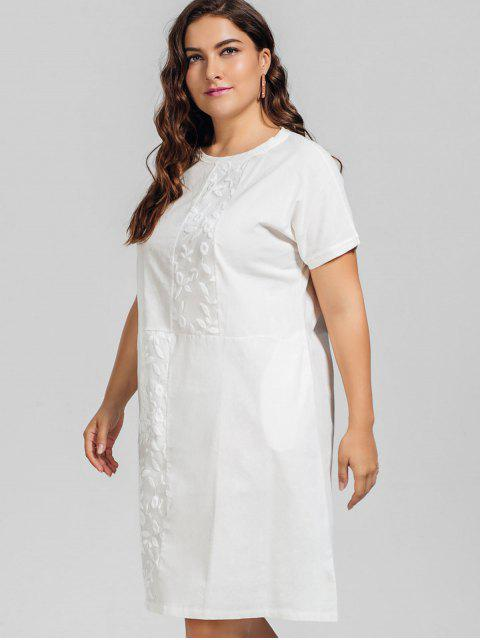 buy Voile Panel Plus Size Embroidered Dress - WHITE 2XL Mobile