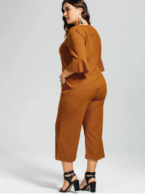 lady High Low Blouse and Capri Wide Leg Pants Plus Size Suit - EARTHY 4XL Mobile