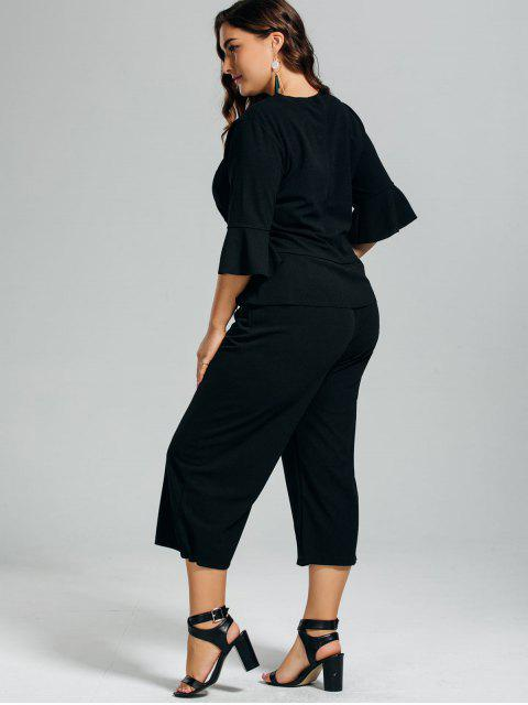 best High Low Blouse and Capri Wide Leg Pants Plus Size Suit - BLACK 4XL Mobile