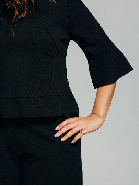 Pantalon taille basse et chemisier taille basse Capri taille plus - Noir 2XL Mobile