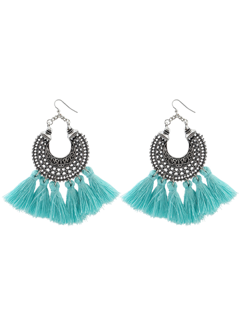 fashion Moon Gypsy Tassel Hook Earrings - LIGHT BLUE  Mobile