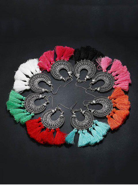 fashion Moon Gypsy Tassel Hook Earrings - LIGHT BLUE  Mobile