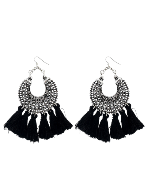 Moon Gypsy Tassel Hook Earrings - Noir  Mobile