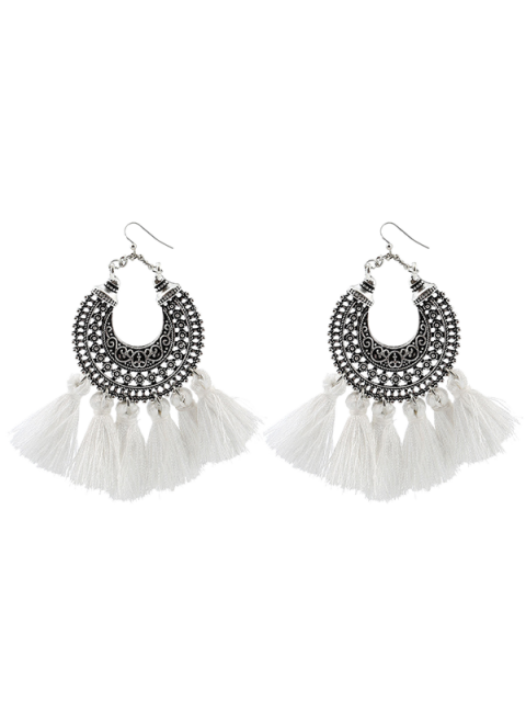 Moon Gypsy Tassel Hook Earrings - Blanc  Mobile